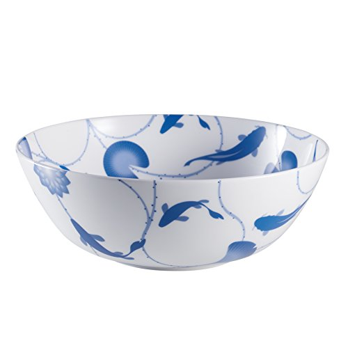 China Large Bowl - ZENS lifestyle Salad Bowl Bone China 51 OZ 1500ML Large Serving Bowl White for Pasta Cereal Dessert Lotus and Fish Continuing Pattern