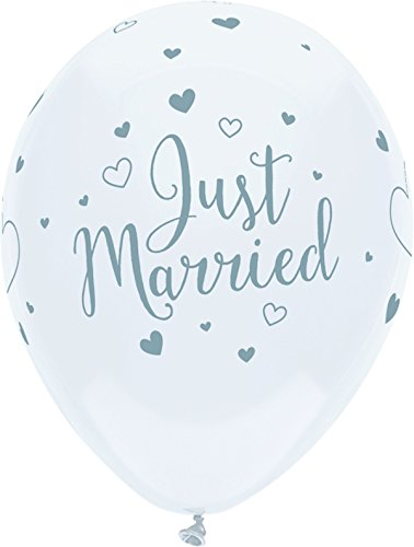 PartyMate 24377 Printed Latex Balloons, 6 CT, Just Married
