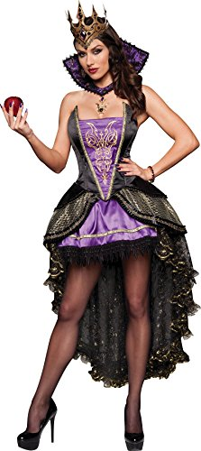 [GTH Women's Renaissance Snow White Evil Queen Theme Party Fancy Costume, M (8-10)] (Disney Evil Queen Deluxe Adult Plus Costumes)