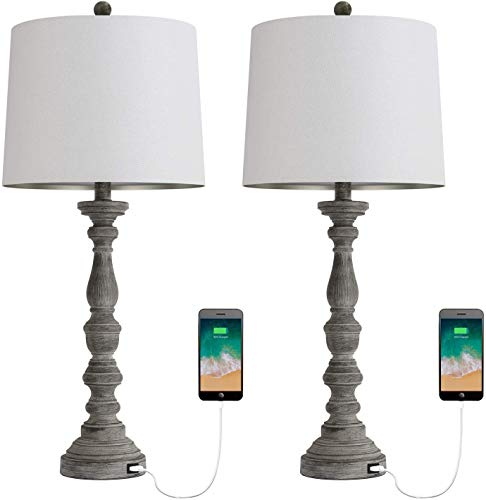 BOBOMOMO 27.75'' USB Table Lamp with Charging Port Set of 2 Antique Nightstand Lamp for Bedroom Living Room Office Retro…