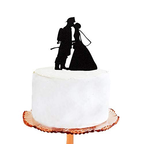 Wedding Cake Topper - Firefighter and Bride Silhouette Wedding Cake Topper]()