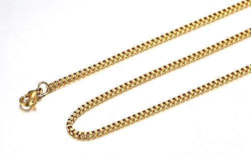 Mealguet Jewelry Yellow Gold PlatedStainless Steel Box Chain Neckalce, 2mm (Titanium Plated Necklace)