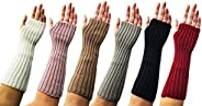 Arm Warmers, 3 Pairs for Women, Cable Knit Warm Winter Sleeve Fingerless Gloves, Premium Gift