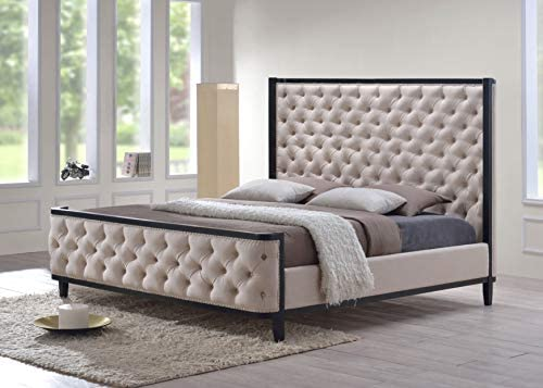 LuXeo Kensington Tufted Upholstered Bed with Wood Frame, Queen, Custard