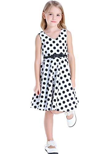 Happy Rose Girl's Dress 1950s Retro Party Dots White Black 10]()