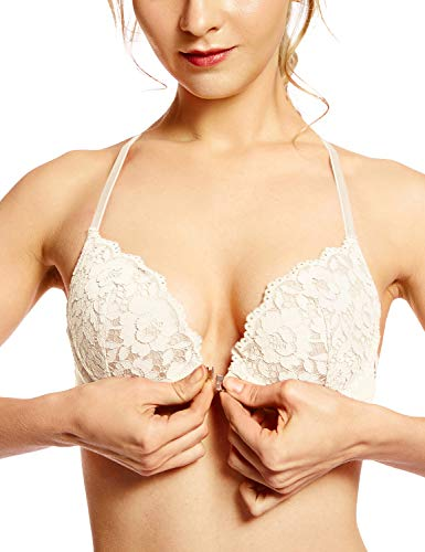 (DOBREVA Women's Floral Lace Back Front Closure Padded Push Up Underwire Bra Plunge Ivory 36B)
