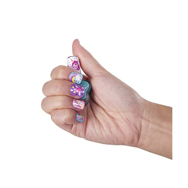 Hot Focus Scented Nail Boutique - 168 Piece Unicorn Nail Art Kit Includes Press on Nails, Nail Patches, Nail Stickers, Nail Polishes, Nail File and Ring - Non-Toxic Water Based Peel Off Nail Polish 5
