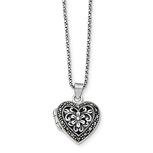 Jewelry Adviser Locket Sterling Silver Marcasite Heart Locket w/Chain Necklace