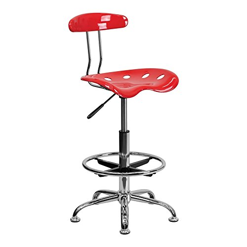 Offex Vibrant Drafting Stool with Tractor Seat, Cherry Tomato and Chrome