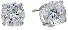 A versatile classic, these solitaire earrings will add a touch of dazzle to any outfit. Crafted in platinum-plated sterling silver, they showcase 5mm rounds of sparkling clear cubic zirconia. The stones are cradled in four-prong settings, and...