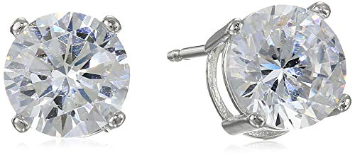 Amazon Essentials Platinum Plated Sterling Silver Round Cut Cubic Zirconia Stud Earrings (8mm)