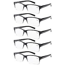 Eyekepper 5-pack Spring Hinges Vintage Eyeglasses Men Black-clear Frame +0.00