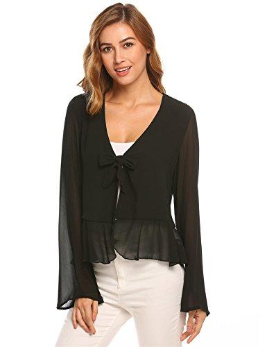 Chiffon Bell Sleeve (Zeagoo Women Chiffon Kimono Vneck Bell Sleeve Blouse Ruffle Hem Top(Black,L))