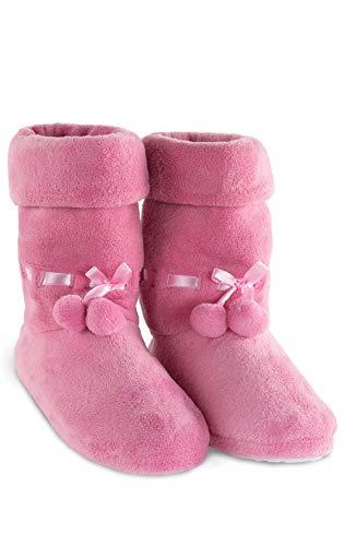PajamaGram Fleece Slippers for Women - Slipper Boots for Women, Pink, 9/10