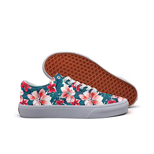 303feca94aa49 SERXO Red and White Tropical Hibiscus Flowers Adult Skateboard Shoes  Comfortable Sneakers for Walking