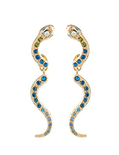 Snake Earrings Stud Jewelry for Women and Girls Blue Crystal Gifts Punk Alloy