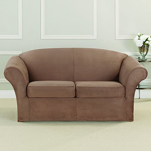 Ultimate Heavyweight Stretch Faux Suede Box Cushioned Loveseat (Faux Suede Slipcover)