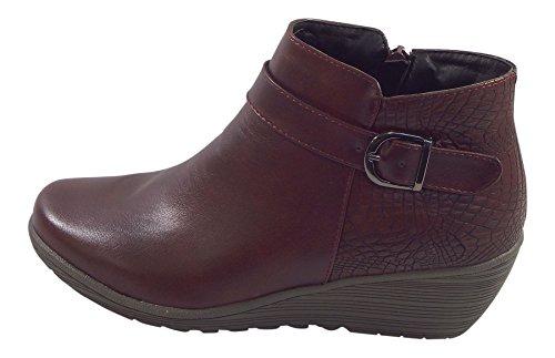 Wedge Burgundy Burgundy Zip Boots Ladies Ankle ROSA Up Bto4Lgq