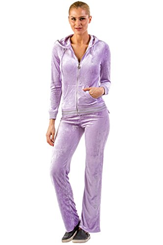 Vertigo Paris Women's Logo Velour Lounge Tracksuit Jog Set - Purple - - Tracksuit Womens Cool