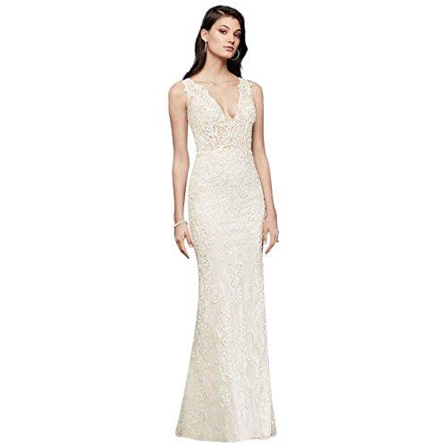 Plunging Illusion Bodice Lace Wedding Dress Style SWG772, Ivory, 12