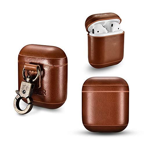 Icarercase Genuine Leather Wireless Earphone Case with Keych