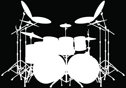 - Music Drums Drummer Car Truck Window Bumper Vinyl Graphic Decal Sticker- (6 inch) / (15 cm) Wide GLOSS WHITE Color