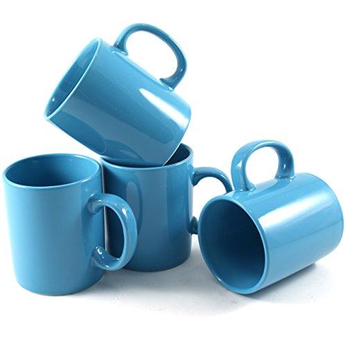 Turquoise Blue Coffee Mugs (Omniware 11 Ounce Classic Turquoise Ceramic Coffee Mug, Set of 4)