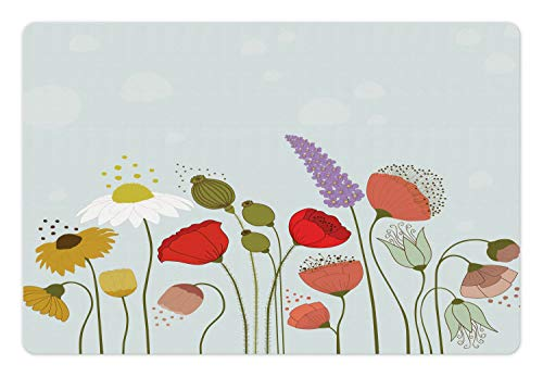 (Ambesonne Flower Pet Mat for Food and Water, Daisy and Peonies Pattern on Pale Blue Background Spring Cottage Nature Illustration, Rectangle Non-Slip Rubber Mat for Dogs and Cats, Multicolor)
