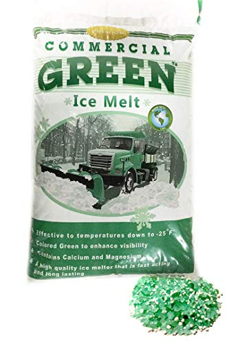 Commercial Green – Premium 50lbs BAG: Ice Melt Rock Salt – Green Tint, Commercial and Home Use - Enhanced Melting Power for Safer Sidewalks, Driveway and Roads in Icy Temperatures ()