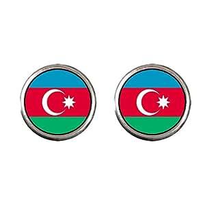 Chicforest Silver Plated Azerbaijan flag Photo Stud Earrings 10mm Diameter
