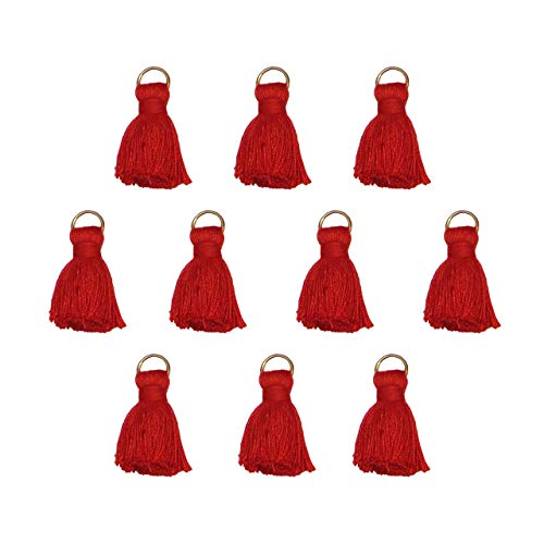 Seeking ROAM Tassels with Jump Ring, Around 1 Inch, Cotton, 10 Pieces, Red (Red)