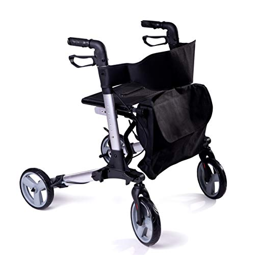 Speedcare Premium Euro Style Medical Folding rollator Walker with seat, Saddle Bag Included