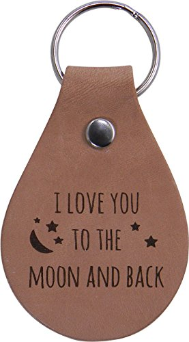 I Love You To The Moon And Back Leather Key Chain - Great Gift for Mothers's, Father's Day, Birthday,Valentines Day, Anniversary or Christmas Gift for Wife, Husband, Girlfriend, Boyfriend