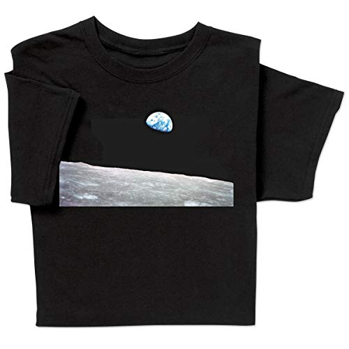ComputerGear NASA Apollo 8 Anniversary to The Moon Landing Earthrise T-Shirt Medium Black (Neil Armstrong Walked On The Moon Apush)