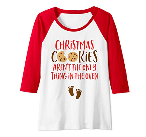 Womens Christmas Pregnancy Announcement Shirt Holiday Baby Reveal Raglan Baseball Tee (Reveal Christmas Baby)