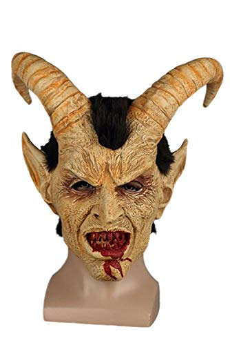 - COSMOVIE Adults Halloween Horror Mask Party Cosplay Costume Lucifer Head Mask for Halloween