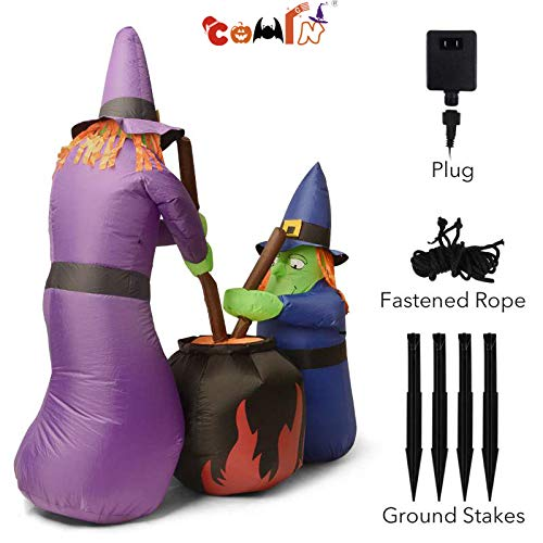 COMIN.NET Halloween Inflatables Blow up Funny Animated Witches Brewing Cauldron -6Ft Tall