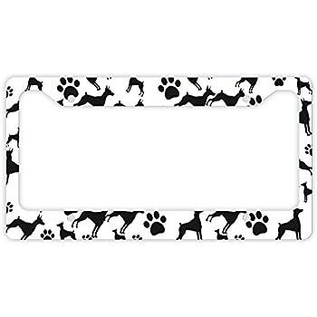 DOBERMAN PINSCHER Dog Pet Metal License Plate Frame Tag Border