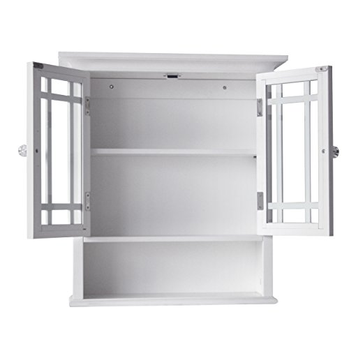 Elegant Home Fashions Neal Collection Shelved Wall Cabinet with Cubby, White - smallkitchenideas.us