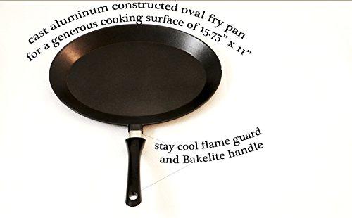 "ExcelSteel 539 Non-Stick Oval Cast Aluminum Frypan, Medium/15.75"" x 11"", Black"