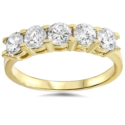 - 1 1/4ct Diamond Wedding 14k Yellow Gold Anniversary Ring 5-Stone High Polished - Size 4.5