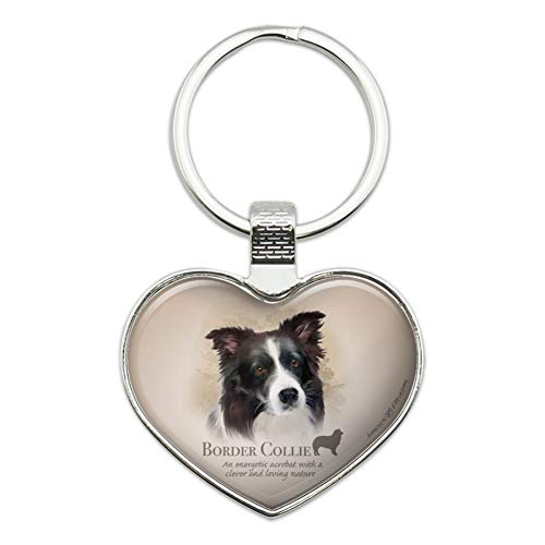 (Border Collie Dog Breed Heart Love Metal Keychain Key Chain Ring)