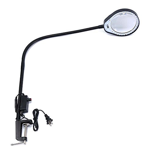 - Holulo Long arm Bracket Clip Clipboard Magnifier with a Lamp Magnification Arm Length 80cm w/ Desk LED Work Light magnifying glass (10X, Black)