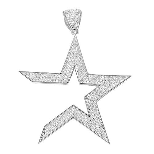 Unisex Simulated Lab Diamond Astro Star Pendant In Icy 14K Icy White Gold Finish by Master Of Bling
