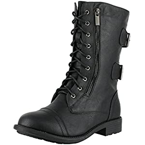 Top Moda Pack-72 Women's Mid Calf Military Lace up Combat Boots, Color:BLACK, Size:7