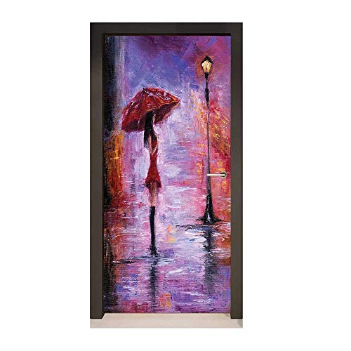 (Urban Decor Door Mural Oil Painting Style View Young Woman with Umbrella on Street Rainy Night Environmental Waterproof Lavender Red and Coral,W17.1xH78.7)