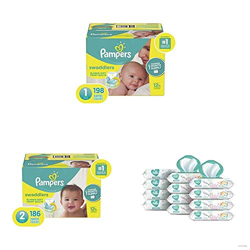 Pampers Bundle - Swaddlers Disposable Baby Diapers Sizes 1, 198 Count & 2, 186 Count with Pampers Sensitive Water-Based Baby Wipes, 12 Pop-Top and Refill Combo Packs, 864 Count