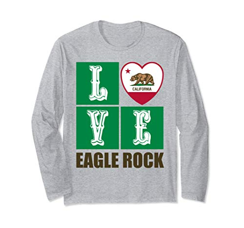 California Republic State Flag Heart Cali Love Eagle Rock Long Sleeve T-Shirt