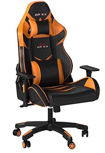 Jamswin Gaming Chair Ergonomic Large Size High Back Adjustable PU Leather Video Game Chairs Office Chair Orange HuanJun