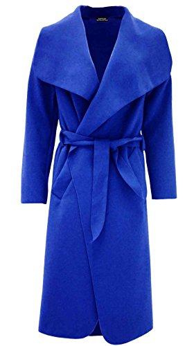 (Ladies Plain Long Duster Coat Italian Women Waterfall French Belted Jacket Dress#(Royal Blue Italian Long Duster Waterfall Jacket #US 14#Womens))